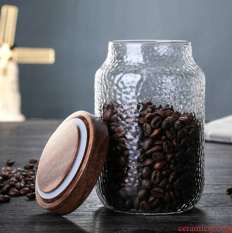 Japanese hammer acacia wood glass storage tank food coffee tea sealed tank transparent storage receive a jar