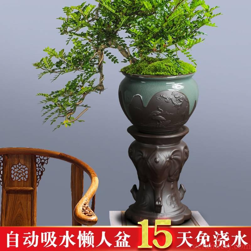 Creative money plant bracketplant basin lazy flowerpot automatic suction ceramic big lazy character desktop balcony the plants vase