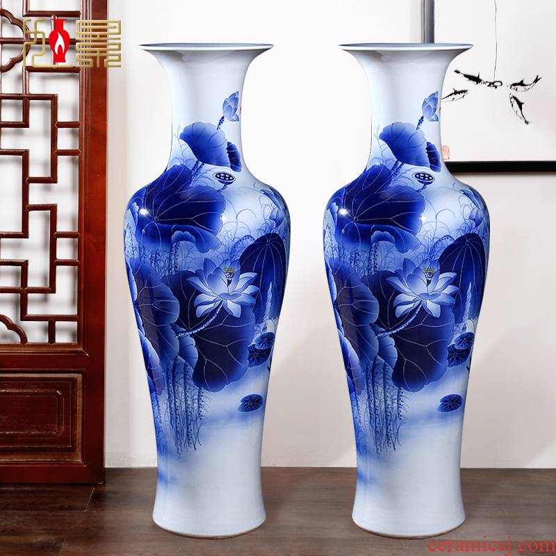 Jingdezhen blue and white lotus hand - made ceramic large vases, feng shui home sitting room adornment is placed hotel company