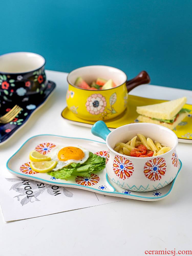 Island house Japanese - style breakfast table in a food dishes suit and lovely young girl heart ceramic oatmeal dishes