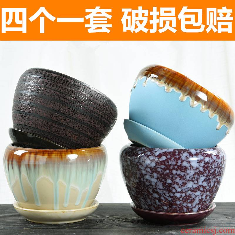 Four flower pot ceramic creative contracted large special offer a clearance with tray was meat meat meat more than other move flower pot
