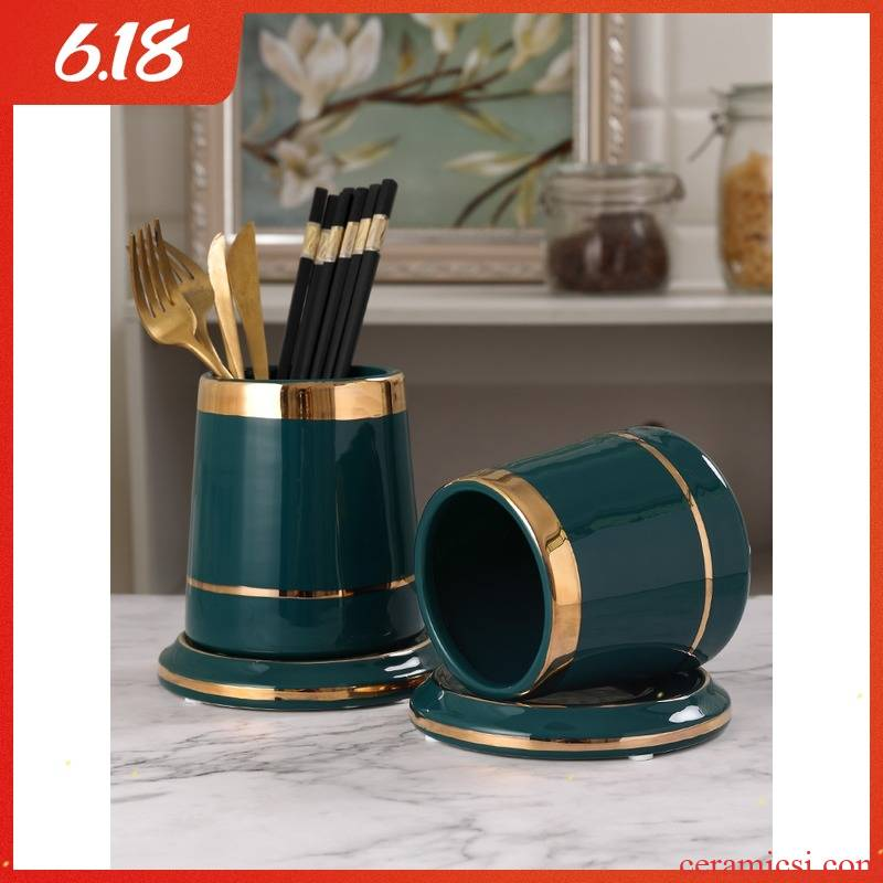 Light luxurious pure color ceramic cage of kitchen utensils spoons chopsticks tube inserted drop round chopsticks basket receive a case to the restaurant