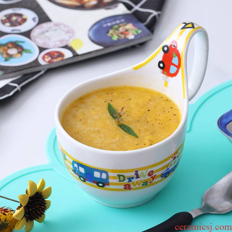 Steel creative children car soup bowl with the handle cartoon animals ceramic breakfast dessert bowl of salad bowl rainbow such use