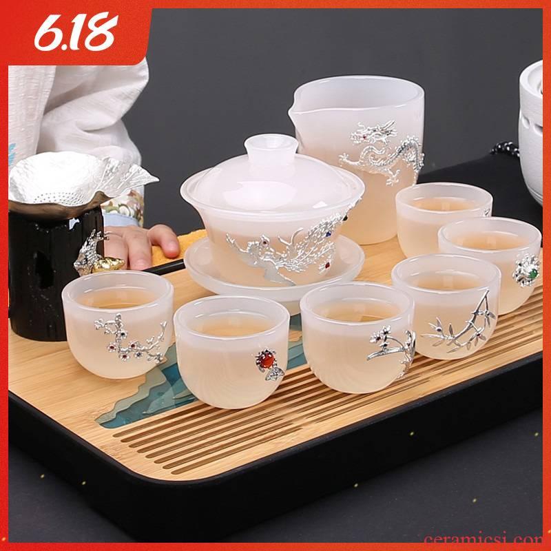 Coloured glaze kung fu tea set suit white jade porcelain coppering. As silver tea set household glass teapot teacup silver tea gift box