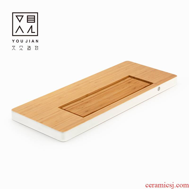 Heavy bamboo block solid wood tea tray is small household drainage type tea table I and contracted kung fu tea tea saucer dish