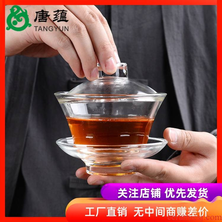 Transparent glass tureen kung fu tea set three to make tea household heat resisting high temperature) the teapot teacup set to use