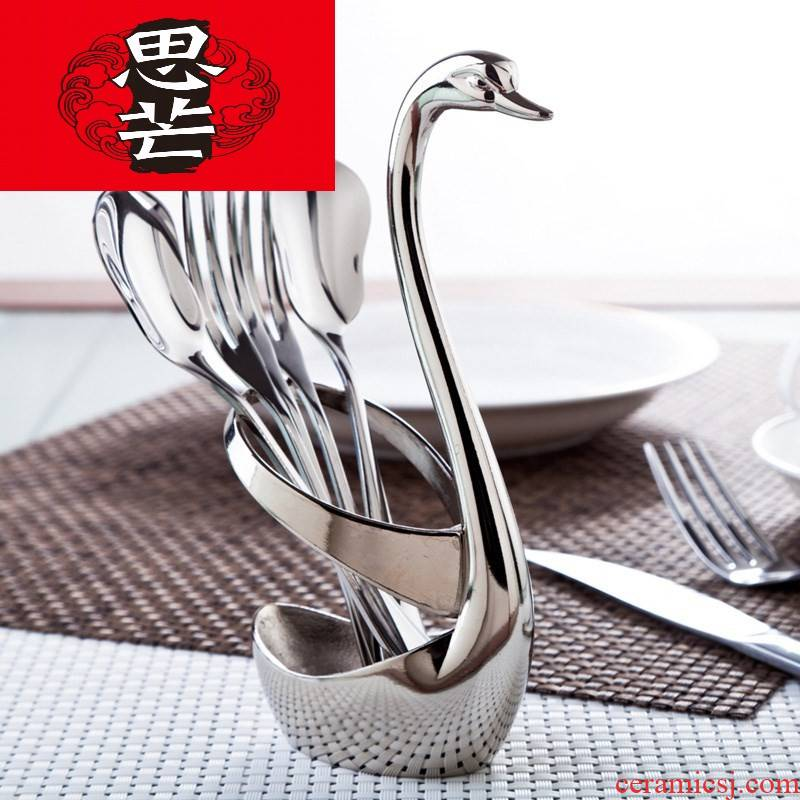 Restaurant creative thinking mans fruit fork suit swan base tube of domestic high - grade western - style stainless steel tableware chopsticks
