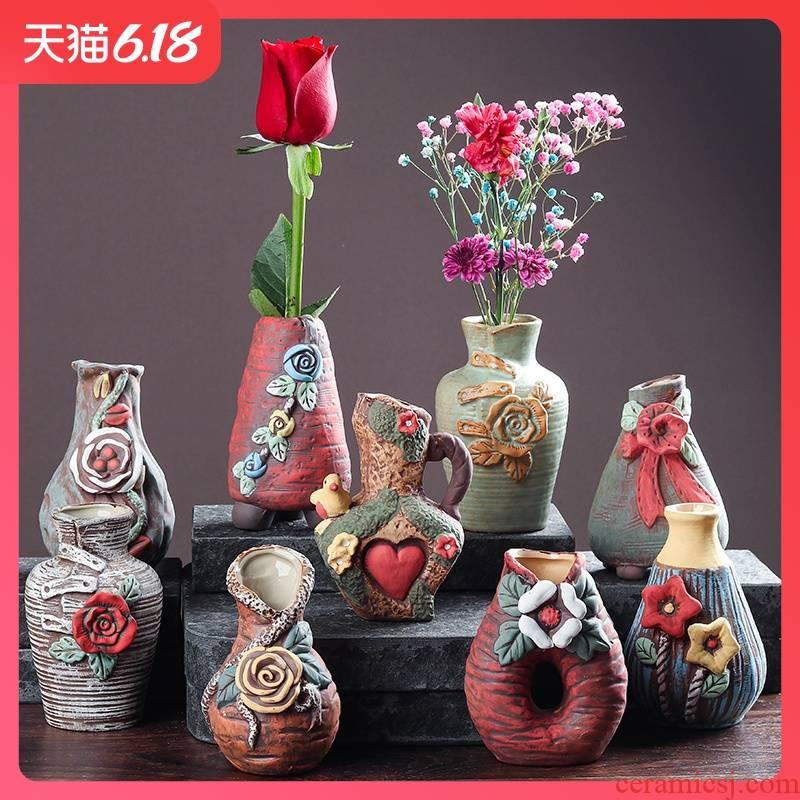 Ceramic hand - made vases indoor desktop copper grass flower POTS all over the sky star, dry flower receptacle restoring ancient ways furnishing articles desktop decoration