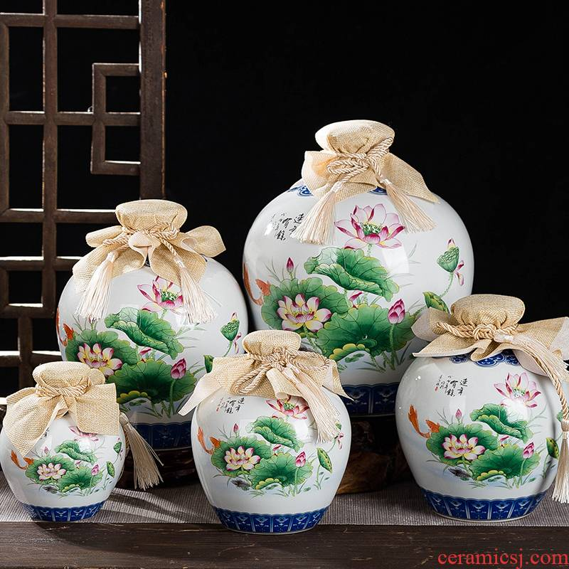 Jingdezhen ceramic jars wine bottles fish creative antique 123510 catties a crock pot lotus brewed liquor bottles of empty bottles