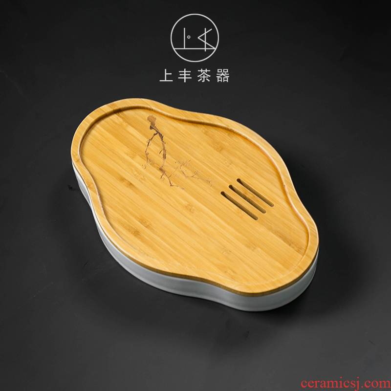Feng Japanese contracted on dry storage small mercifully machine ceramic kung fu tea tray household bamboo pot bearing pot of tea accessories