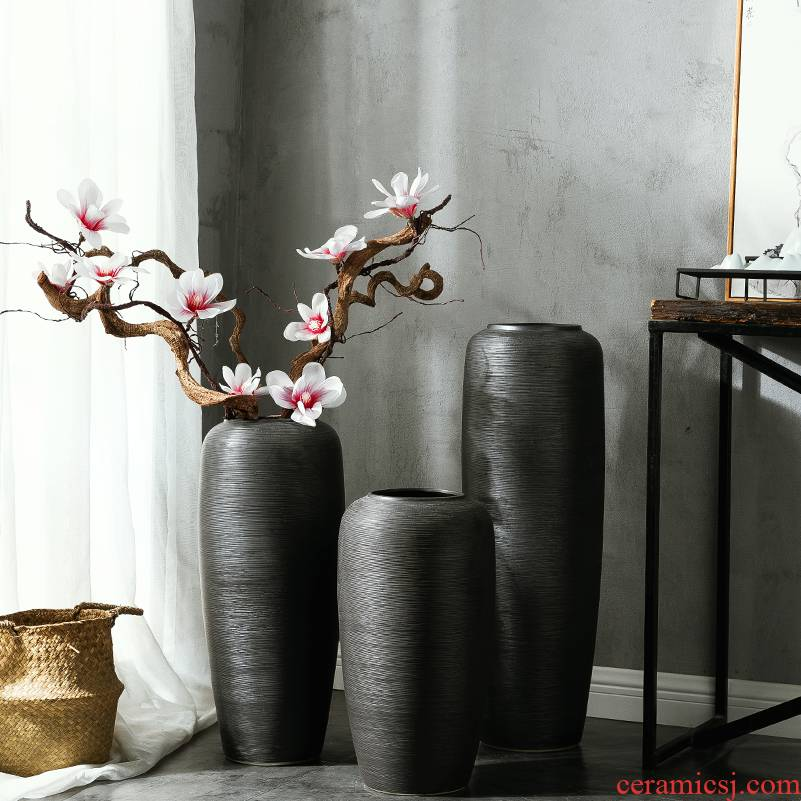 Jingdezhen ceramic art of new Chinese style large vases, flower arranging landing simulation flower, dried flower adornment furnishing articles example room