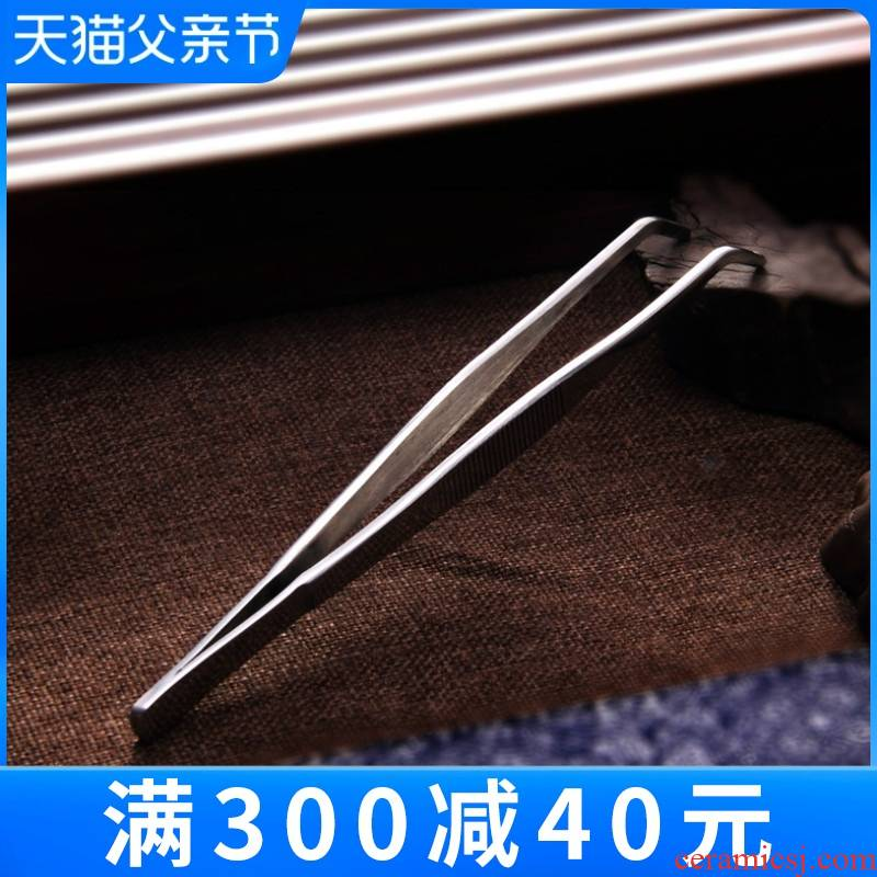 Stainless steel ChaGa suit to thicken the metal cups of tea tweezers kunfu tea clip large tea tea tea tray accessories