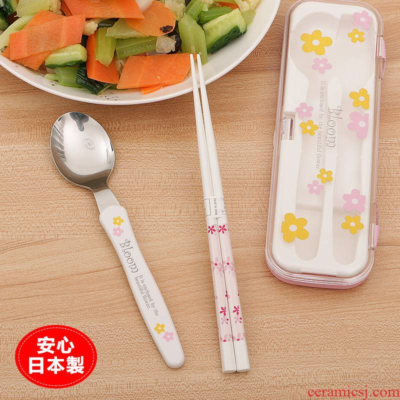 Portable tableware suit students chopsticks spoons sets imported from Japan with chopsticks the receive a case of adult travel suit