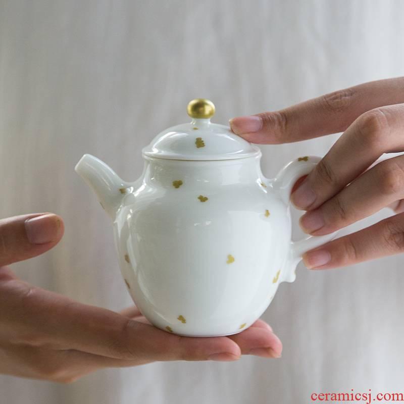 The Escape this hall small jingdezhen ceramic teapot household kung fu tea set filter teapot white porcelain with single pot of gold
