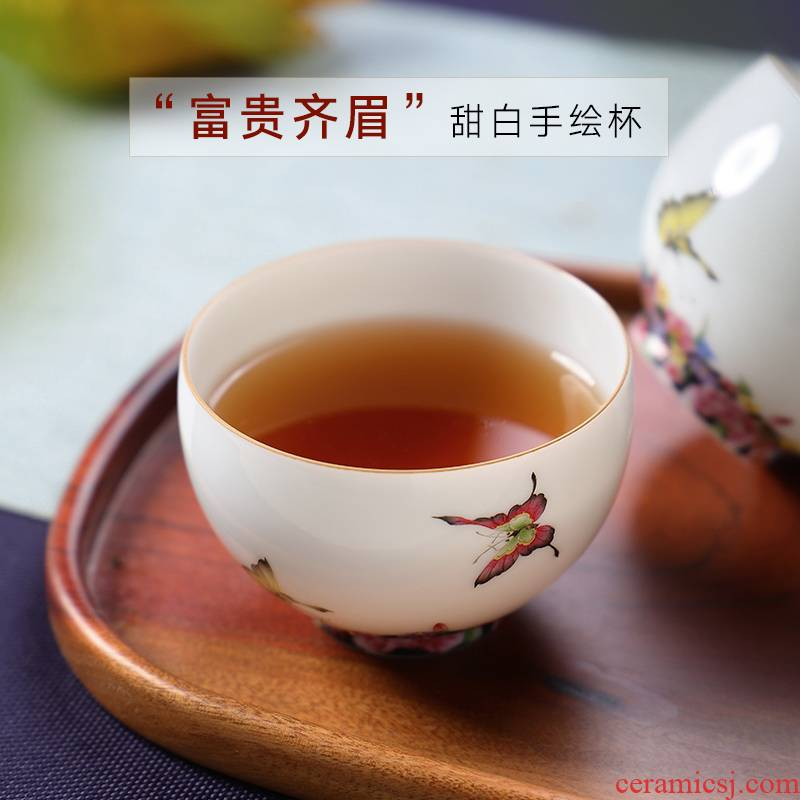 Jingdezhen escape ooze hall famille rose flower ceramic checking single master kung fu tea cup sample tea cup small tea cups