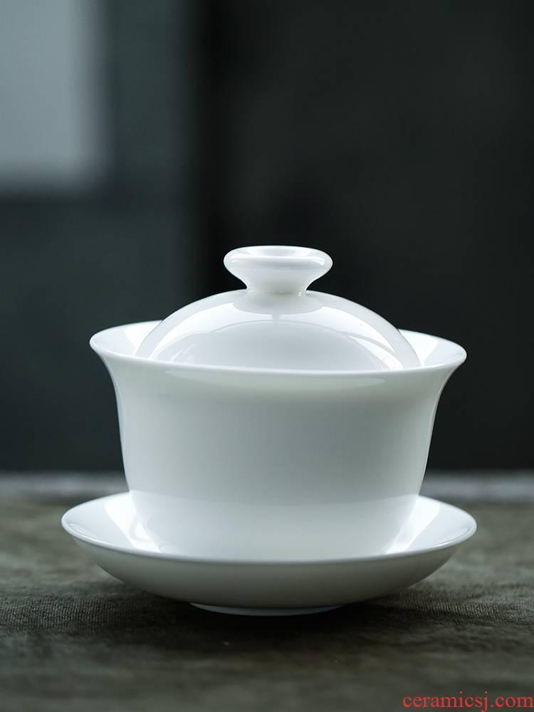 JiaXin dehua white porcelain tureen ceramic tea cups white fat bowl of kung fu tea set three GaiWanCha large