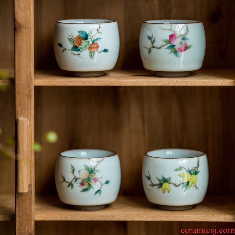 Vegetation school officer green hand - made ceramic cups restoring ancient ways ink cups of tea masters cup household sample tea cup to restore ancient ways