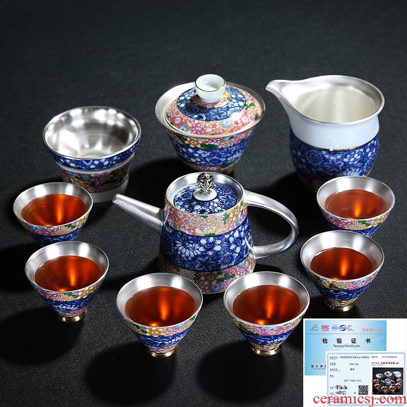 Coppering. As silver tea set manually blue - and - white kung fu tea sets the whole teapot teacup contracted gift box