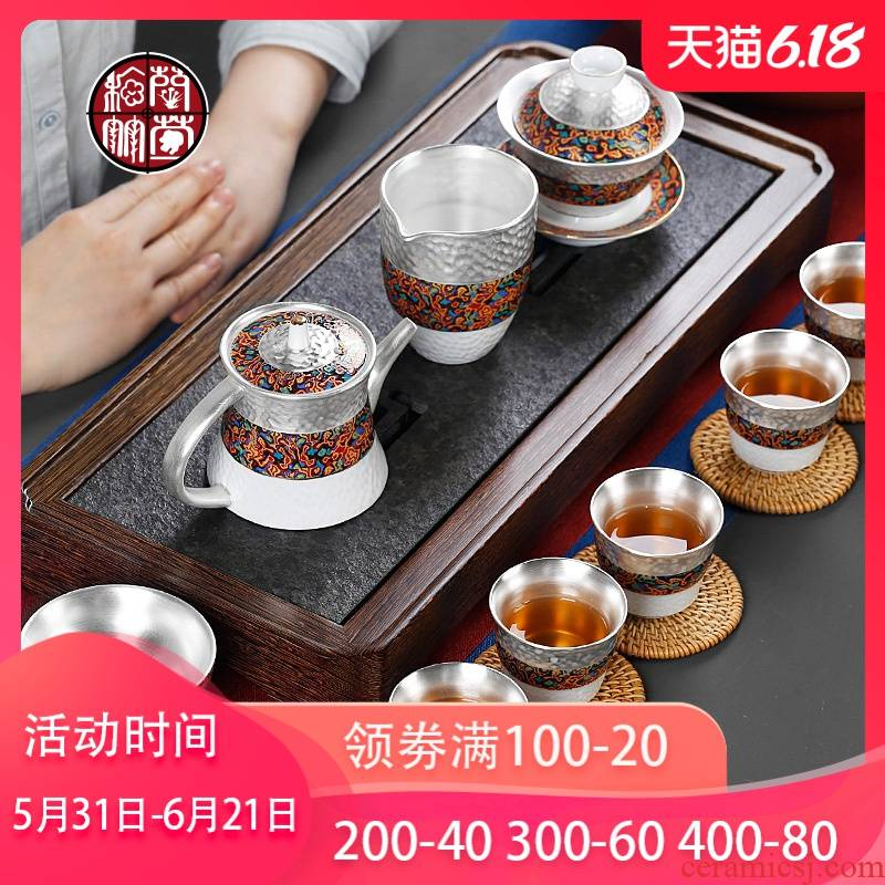 Tasted silver gilding kung fu tea set suits for Chinese silver tea tea six people use the lid to use of ceramic gift boxes