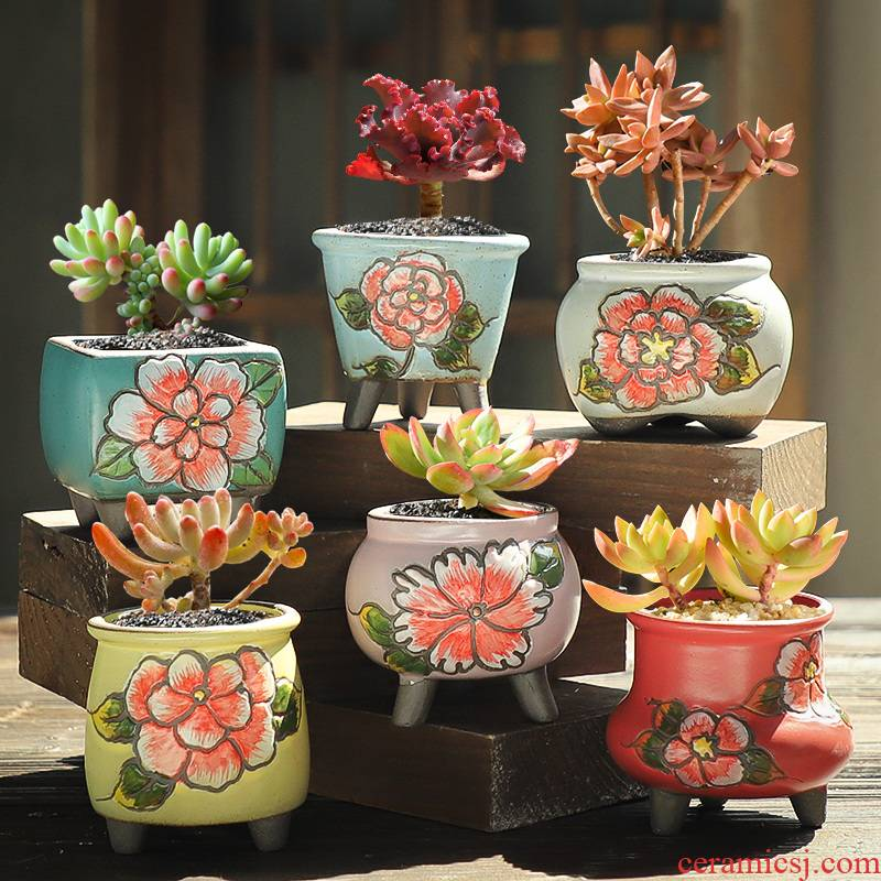 Hand - made coarse pottery Korean fleshy potted flower pot thumb trumpet combination suit special offer a clearance creative meat meat the plants