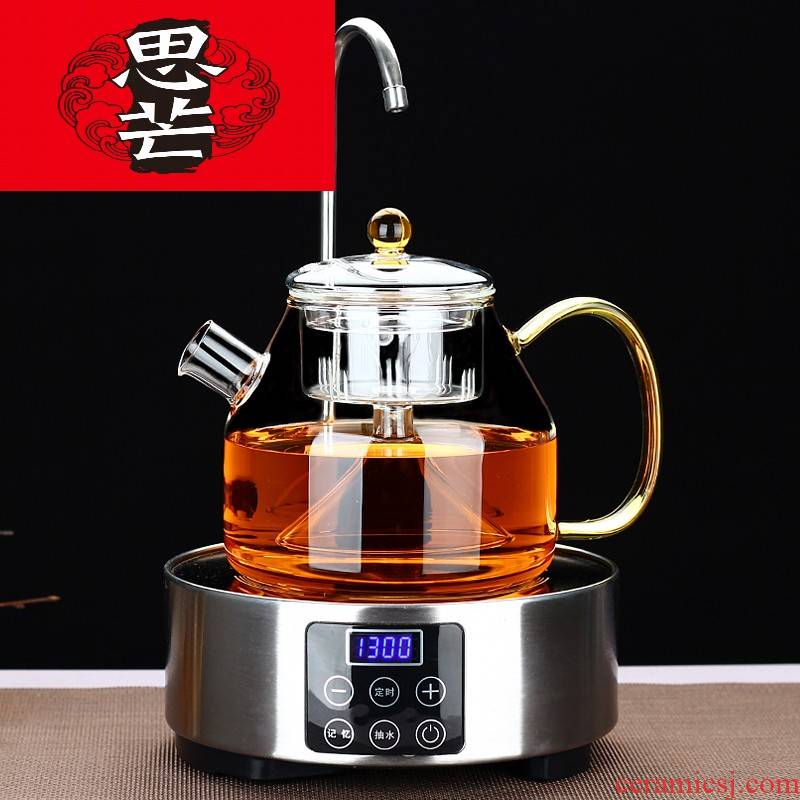 Thinking mans full glass tea steamer cooking pot with automatic water on water and electricity steam TaoLu heat - resistant glass teapot