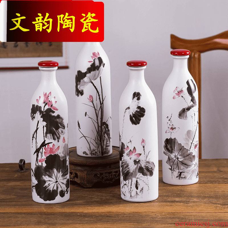 1 catty Rhyme ceramic bottle with JinHe suit of household adornment furnishing articles liquor sealing the empty bottles lotus