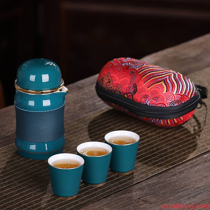 Crack a pot of three travel kung fu tea sets portable household packet tea ceramic cup