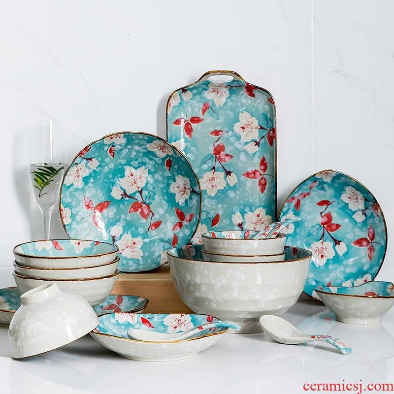 Hk xin rui dishes suit tableware suit household Japanese wind ceramic creative individual bowl chopsticks dishes