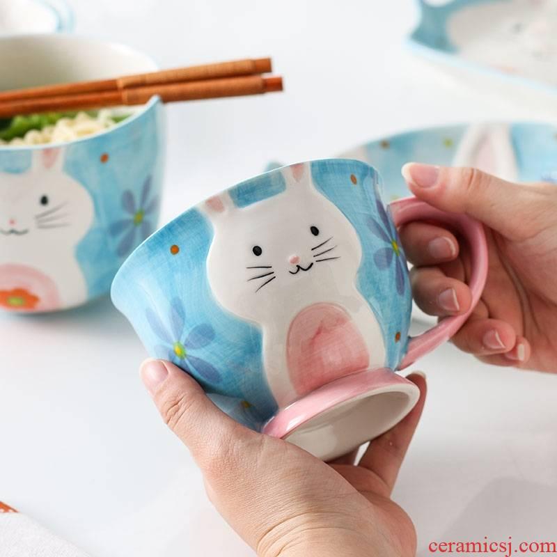 European express cartoon under glaze color ceramic keller cup cup milk coffee cup picking breakfast cup web celebrity