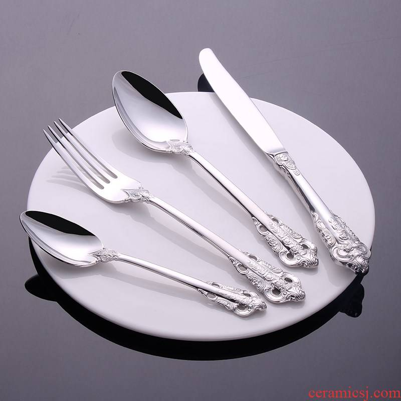 Thinking mans Nordic costly carve patterns or designs on woodwork restoring ancient ways is ecru palace 304 stainless steel knife and fork spoon, coffee spoon, west tableware four pieces