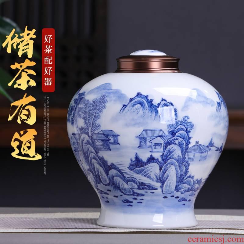 Vintage blue and white tea pot ceramic big yards general gift box jingdezhen ceramics seal pot of green tea storage tanks