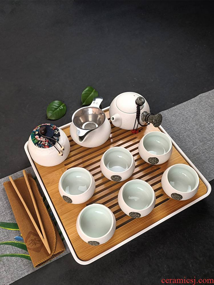 Kung fu tea set home office contracted a pot of six cups of snowflakes teapot teacup ceramic tea set the whole ground