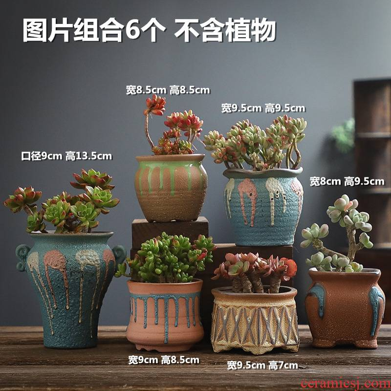 Sextuplet retro coarse pottery pot creative move meat meat the plants large breathable, fleshy flowerpot combination specials