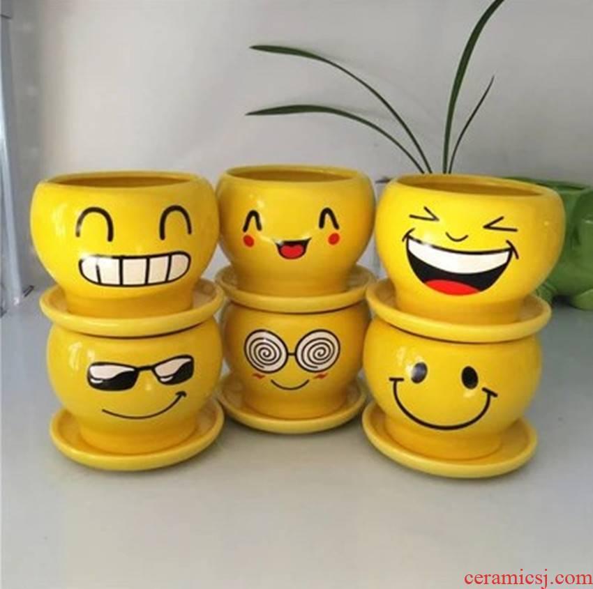Lovely smile meaty plant flower pot expression flowerpot ceramic cartoon mini flowerpot green plant flower POTS