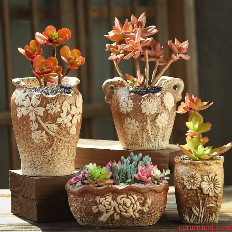 Coarse pottery flowerpot breathable, fleshy old running of creative move contracted special offer a clearance combination suit large meat meat the plants