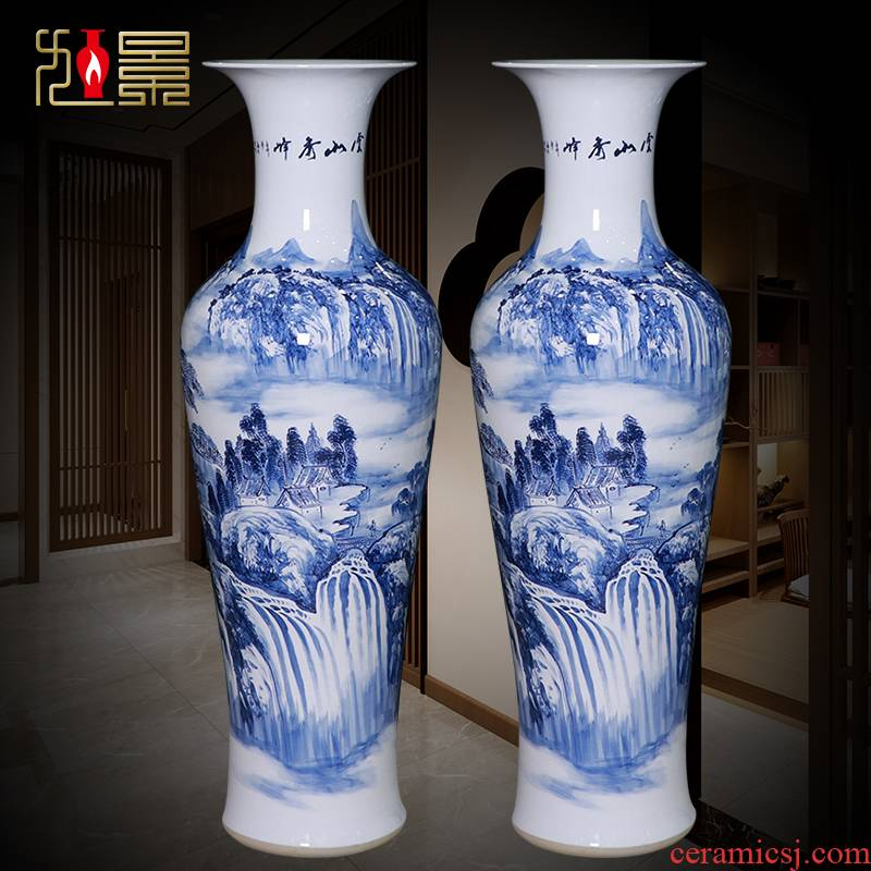 Jingdezhen ceramics hand - made all blue and white landscape of large vases, Chinese style household adornment is placed a new living room