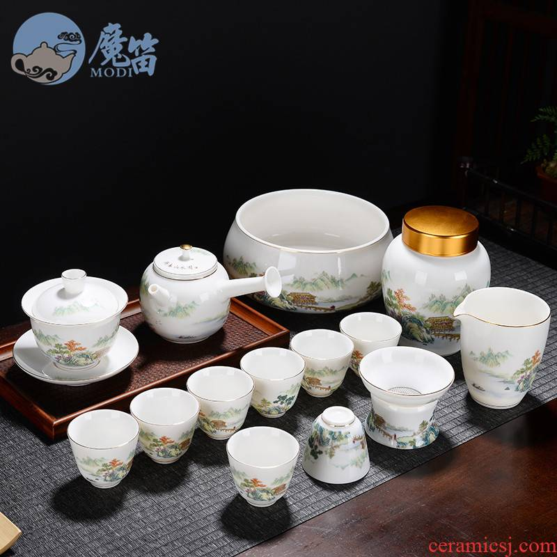 The flute dehua white porcelain tea set household suet jade kung fu contracted tea cups lid bowl of a complete set of cups