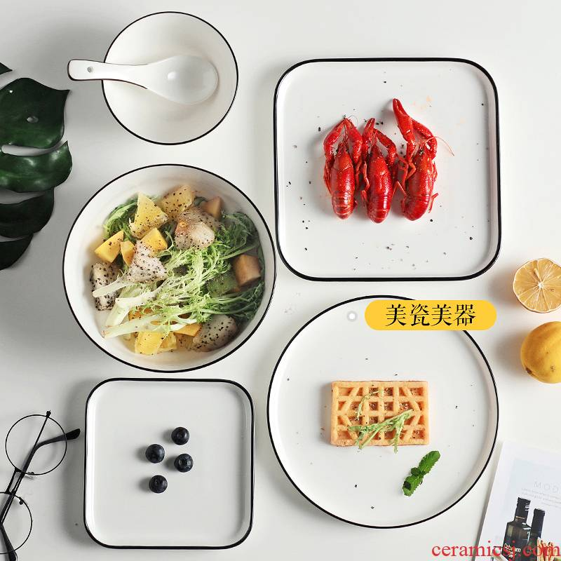 Creative steak plate of western - style food Nordic wind plate Japanese household food dish white ceramic ins wind breakfast dish