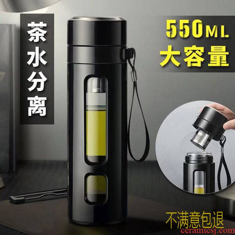 Double insulated glass tea separation big capacity of men 's and women' s cup stainless steel vacuum cup students drop vacuum cup
