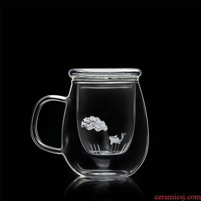 """Hk xin rui silver """"bringing more transparent heat - resistant glass office tea water separation filter with cover flower tea cups"""