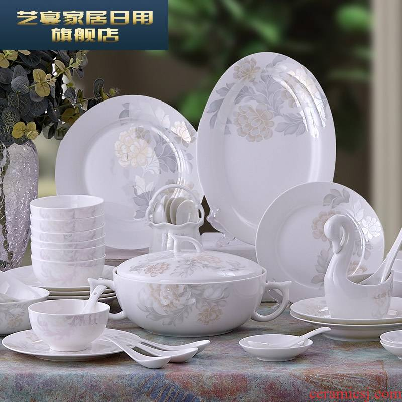 3 PLT ipads porcelain tableware suit Chinese style kitchen dishes dishes household tableware ceramic bowl with chopsticks
