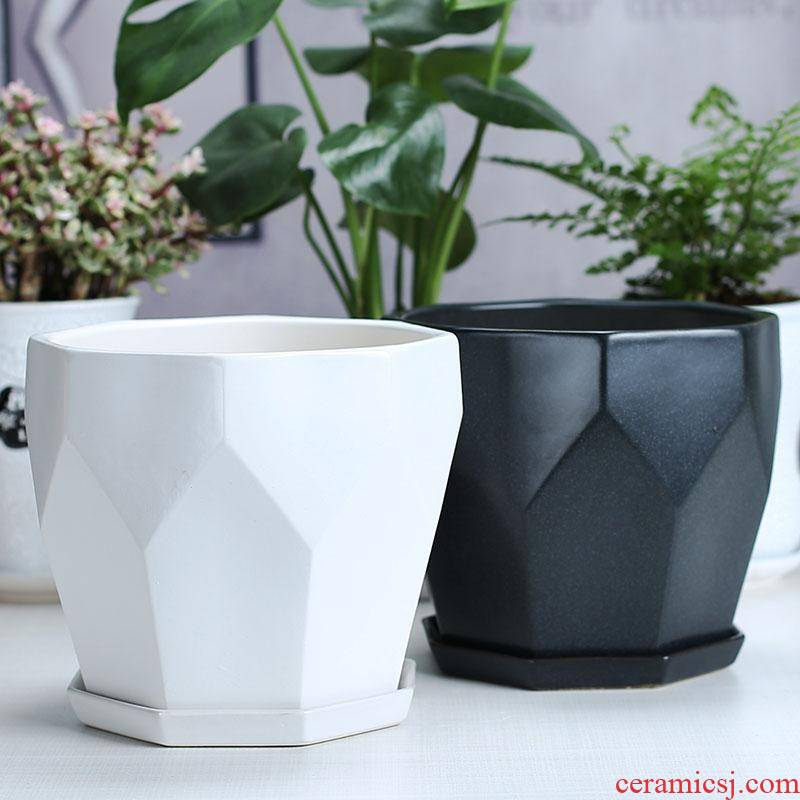 Flowerpot ceramic Nordic contracted and I clearance inferior smooth interior more black and white meat money plant potted household large package mail