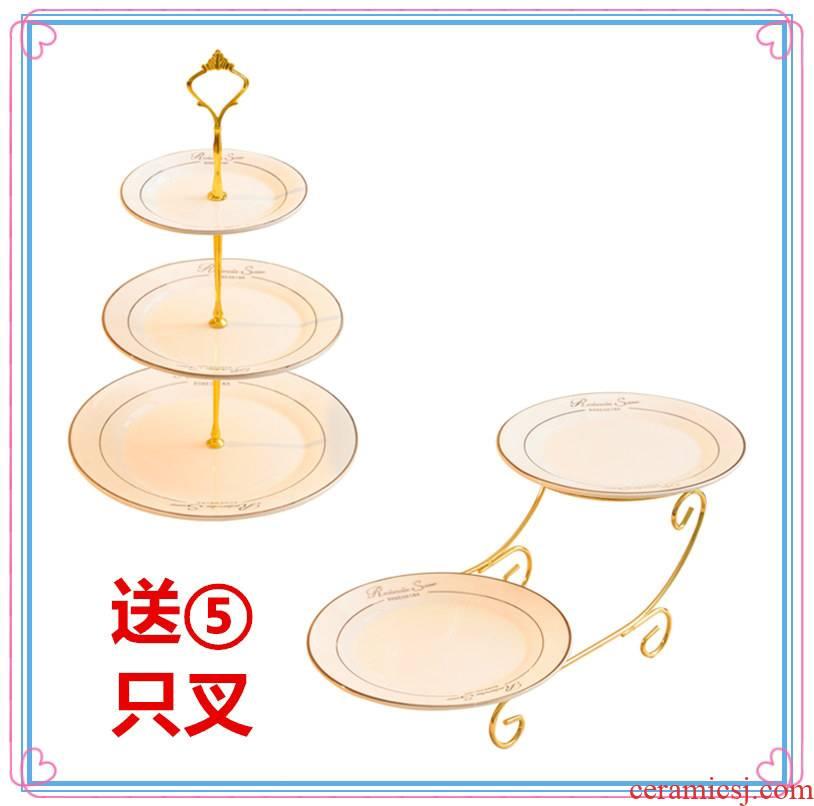 European ceramic home sitting room fruit bowl wedding cakes multi - layer cake dish rack creative tea dry fruit tray