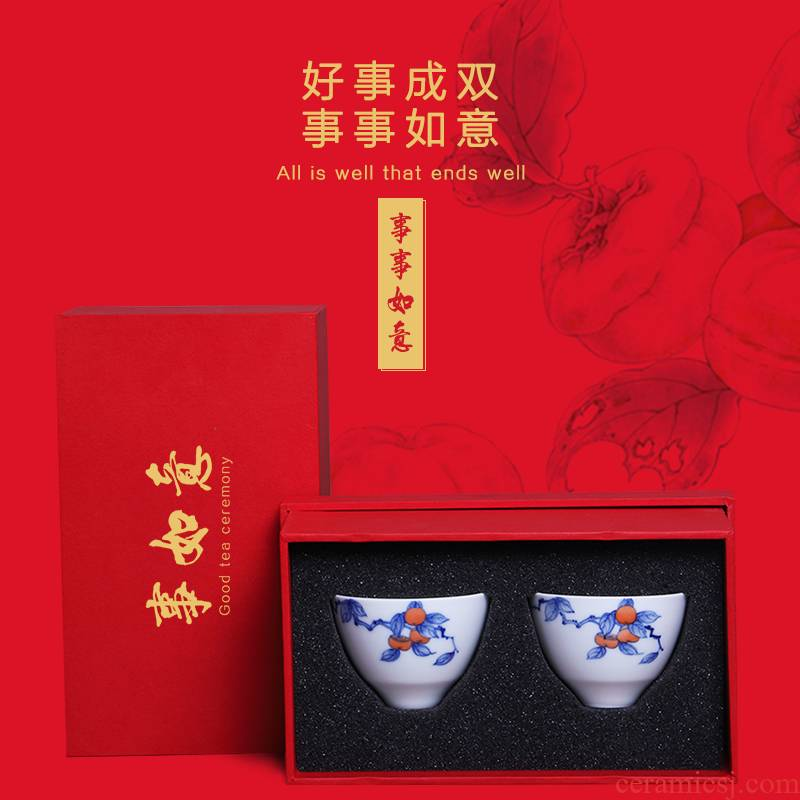 The Escape this hall pure manual blue master cup single CPU individual sample tea cup household kung fu tea cups with hand gift to the CPU