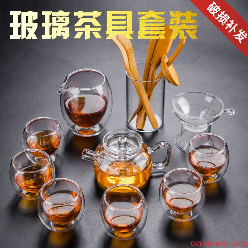 Transparent glass tea set suit small household teapot tea cup set of heat resisting Japanese contracted kung fu tea accessories