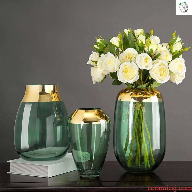 Nordic glass vase furnishing articles sitting room flower arranging creative simulation of dry flower tea table TV table wine decorative furnishing articles