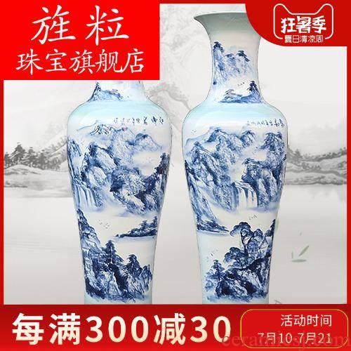 Q3042 jingdezhen porcelain of large vase full manual landscape painting sitting room place of blue and white porcelain hotel equipment