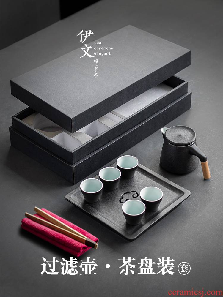 Even household ceramics kung fu tea set office teapot tea tray of a complete set of gift box the packed in a pot of five cups