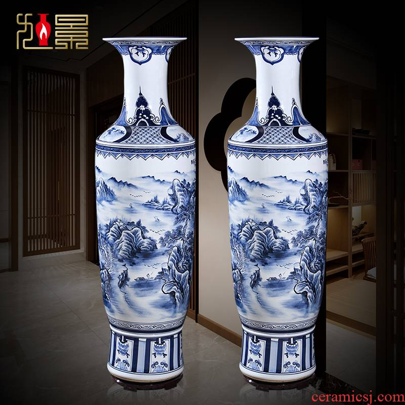 Jingdezhen ceramics hand - made porcelain floor high extra large size vase furnishing articles of Chinese style living room decoration opening gifts