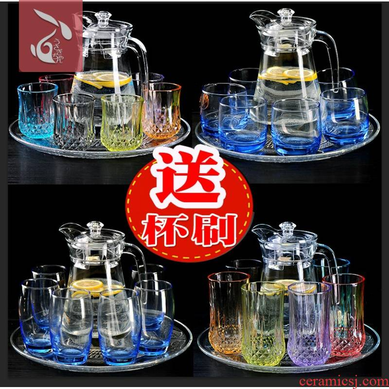A household glass tea is high temperature resistant suit large capacity table sitting room tea cup handle kettle